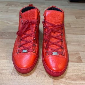 Balenciaga Red High Top Sneakers